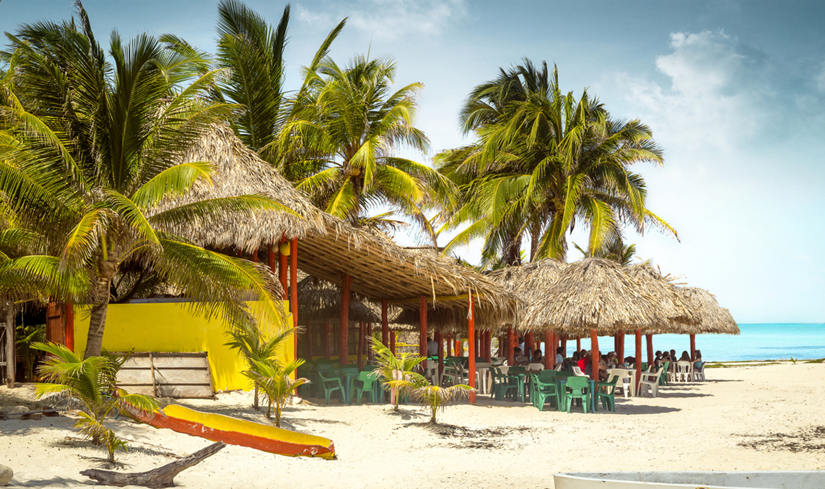 Tropical bar on a beach on Cozumel island, Mexico